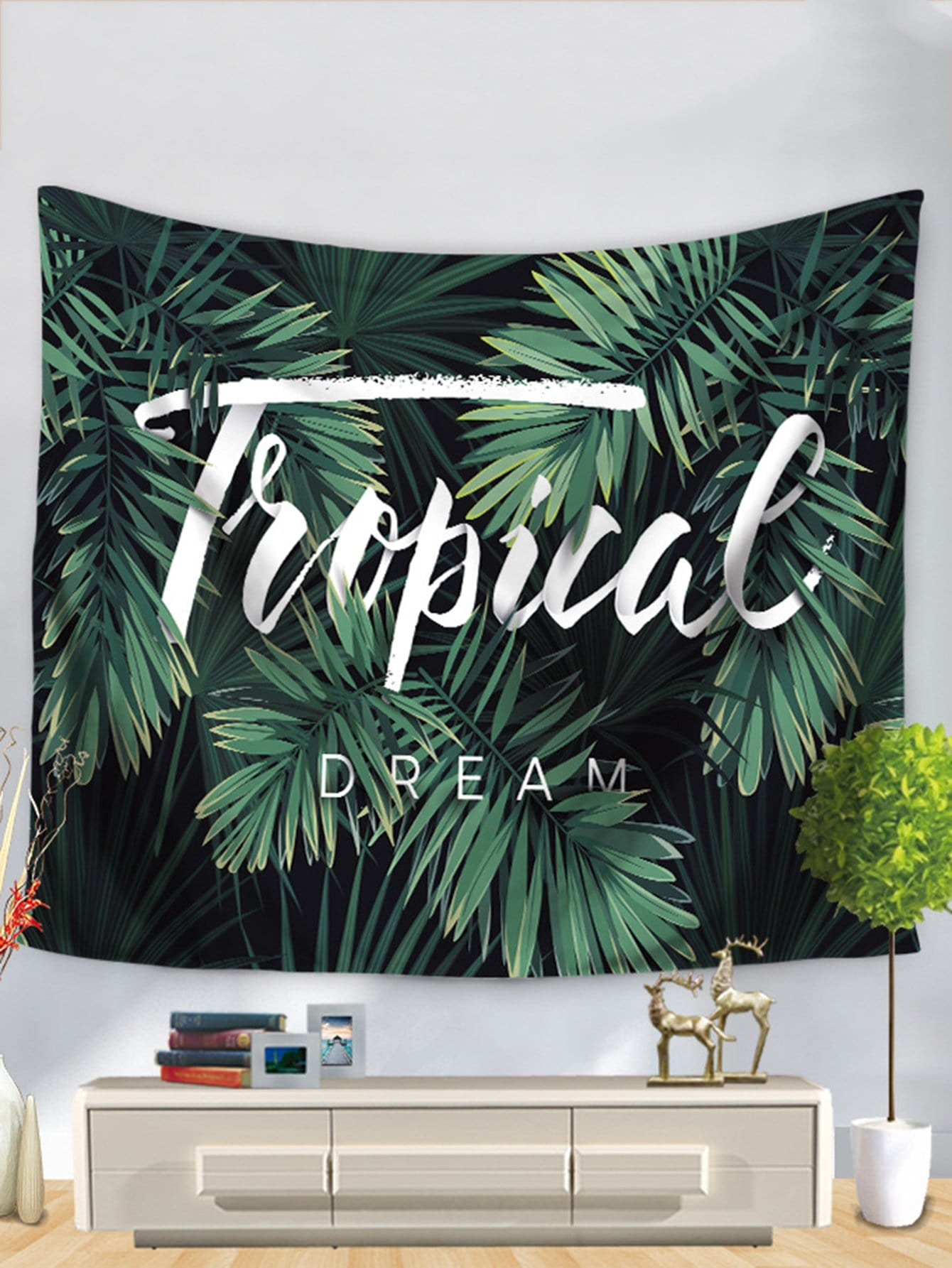 Tropical & Letter Tapestry