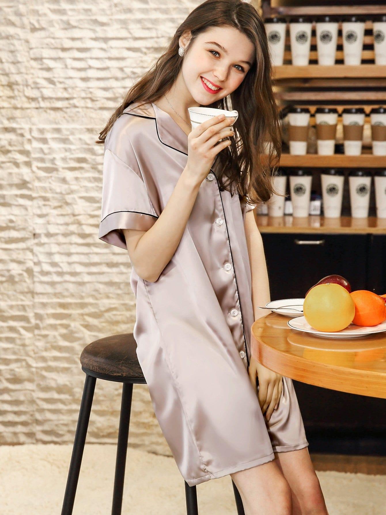Купить Ночная сорочка и со симметрическими Binding и с украшением пуговицы, null, SheIn