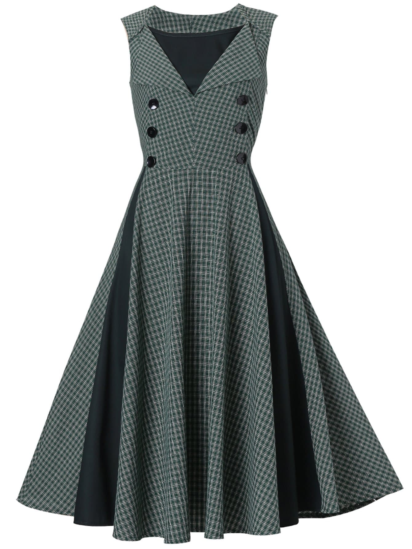 Купить Платье в клетку и с украшением пуговицы, null, SheIn