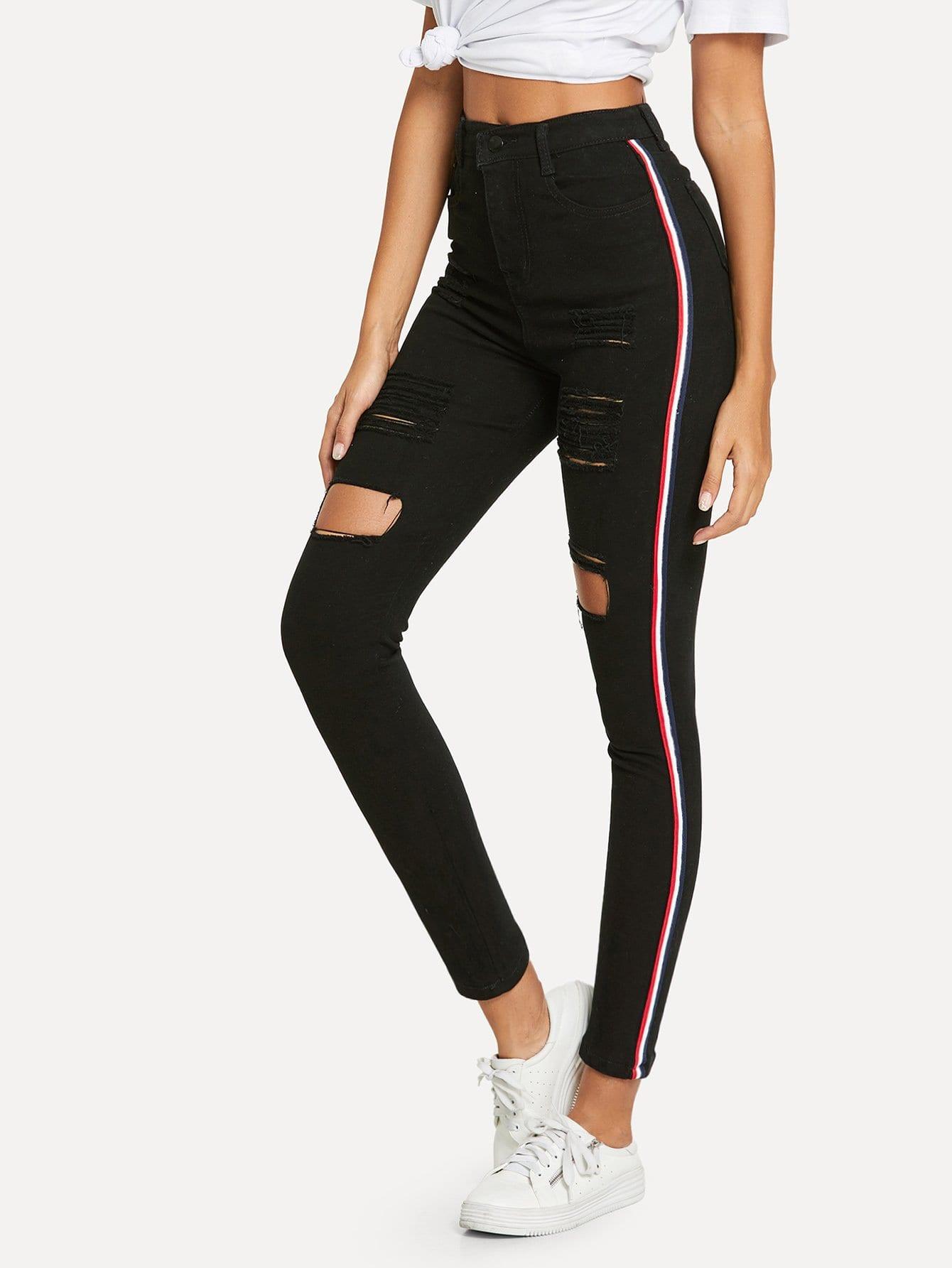 Рваные джинсы и с украшением полосы по обе стороны, Giulia, SheIn  - купить со скидкой