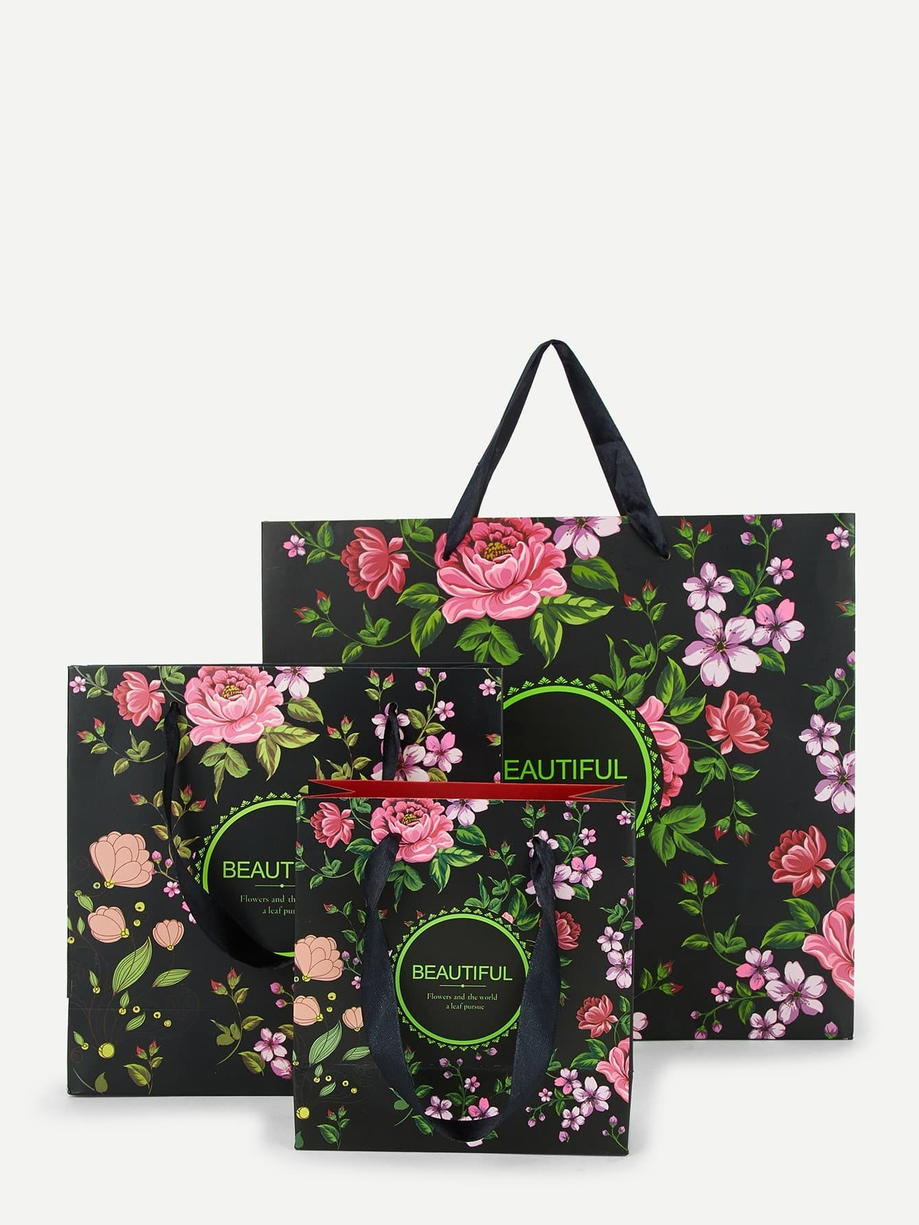 Купить Бумажная сумка и с рисунками цветов 3 шт, null, SheIn
