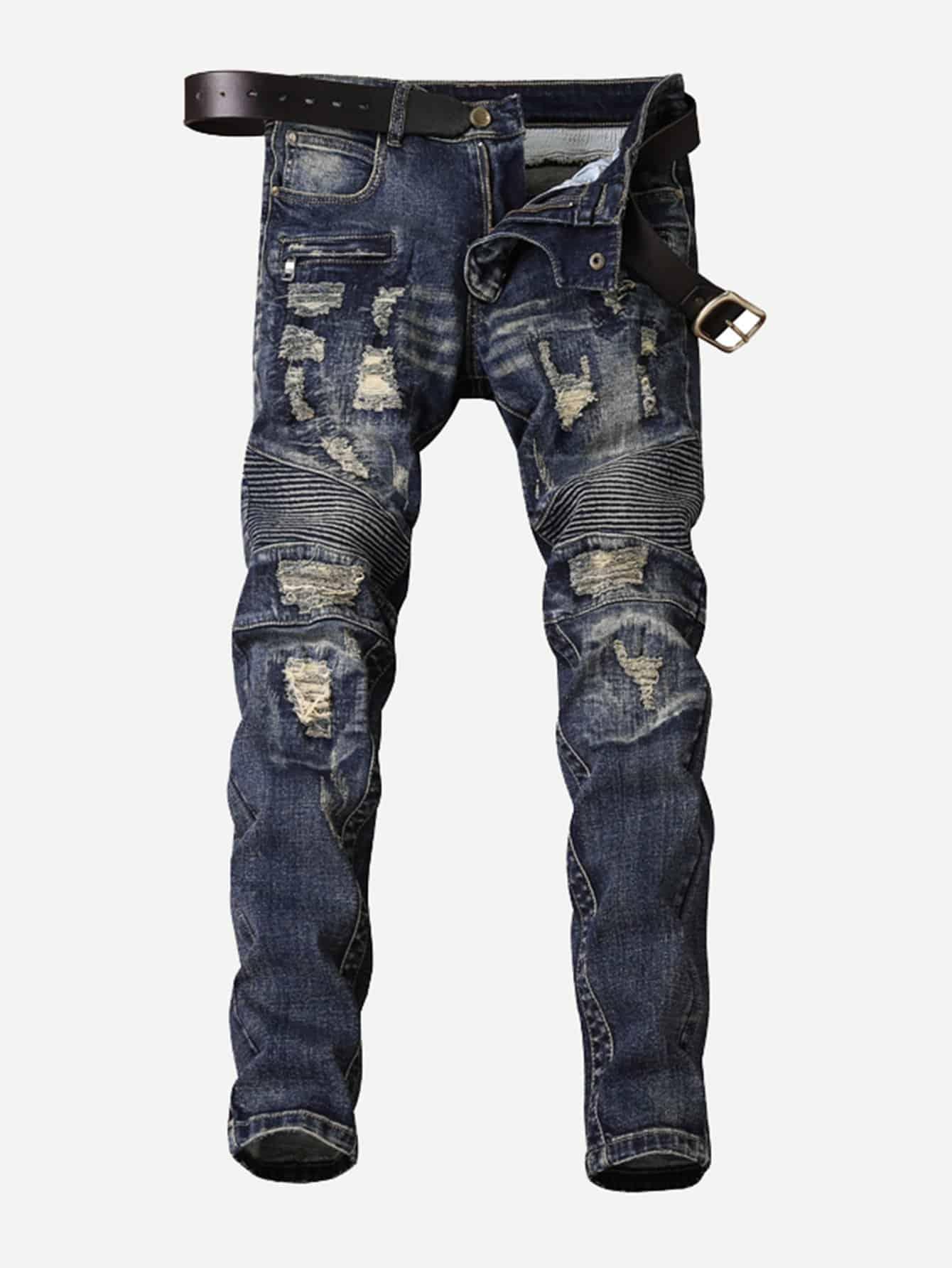 Männer Alt gemachte Jeans mit Falten und Zerrissene