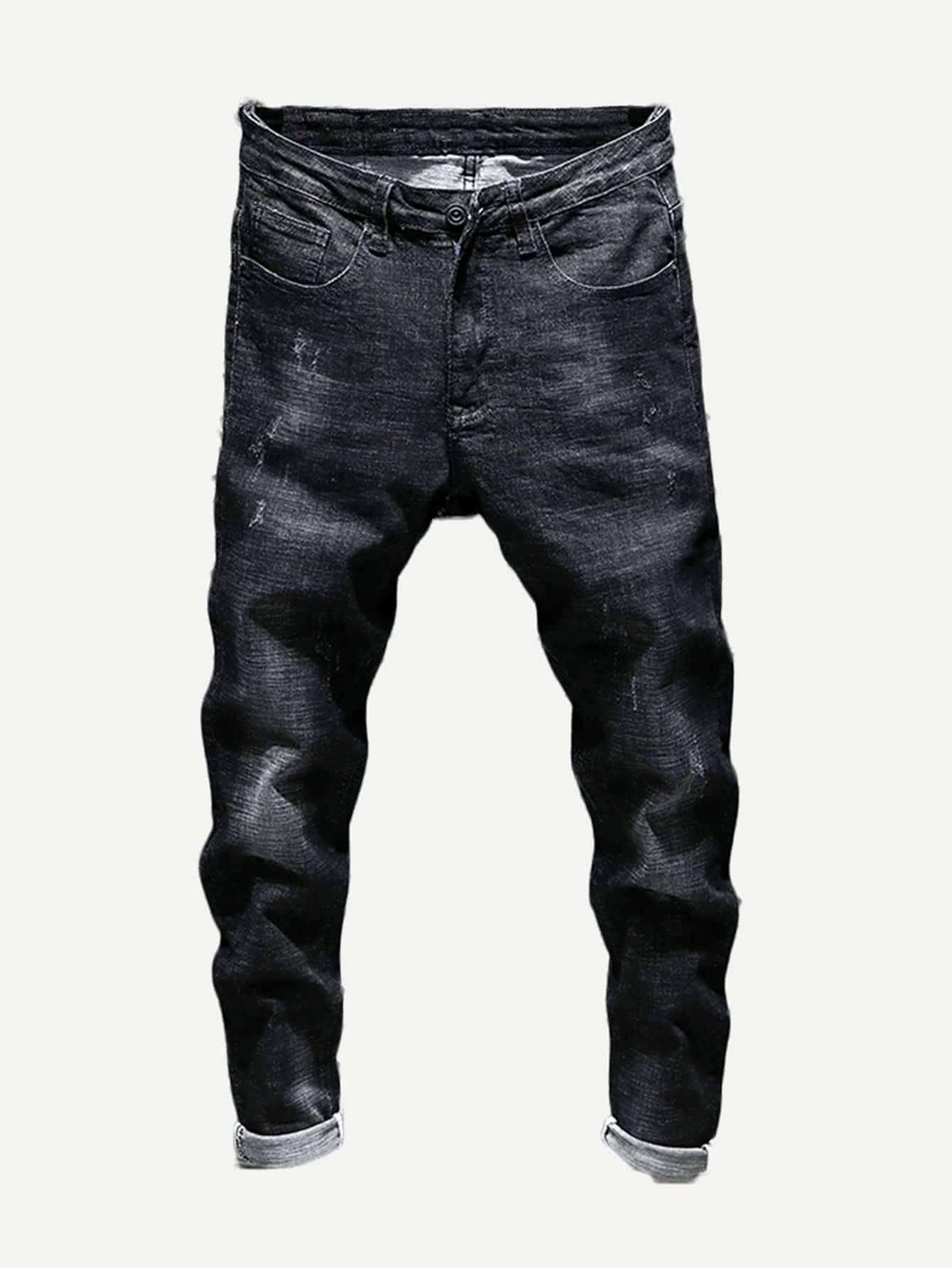 Купить Простые джинсы и рольный подол для мужчины, null, SheIn