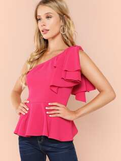 Neon Pink Knot One Shoulder Peplum Top