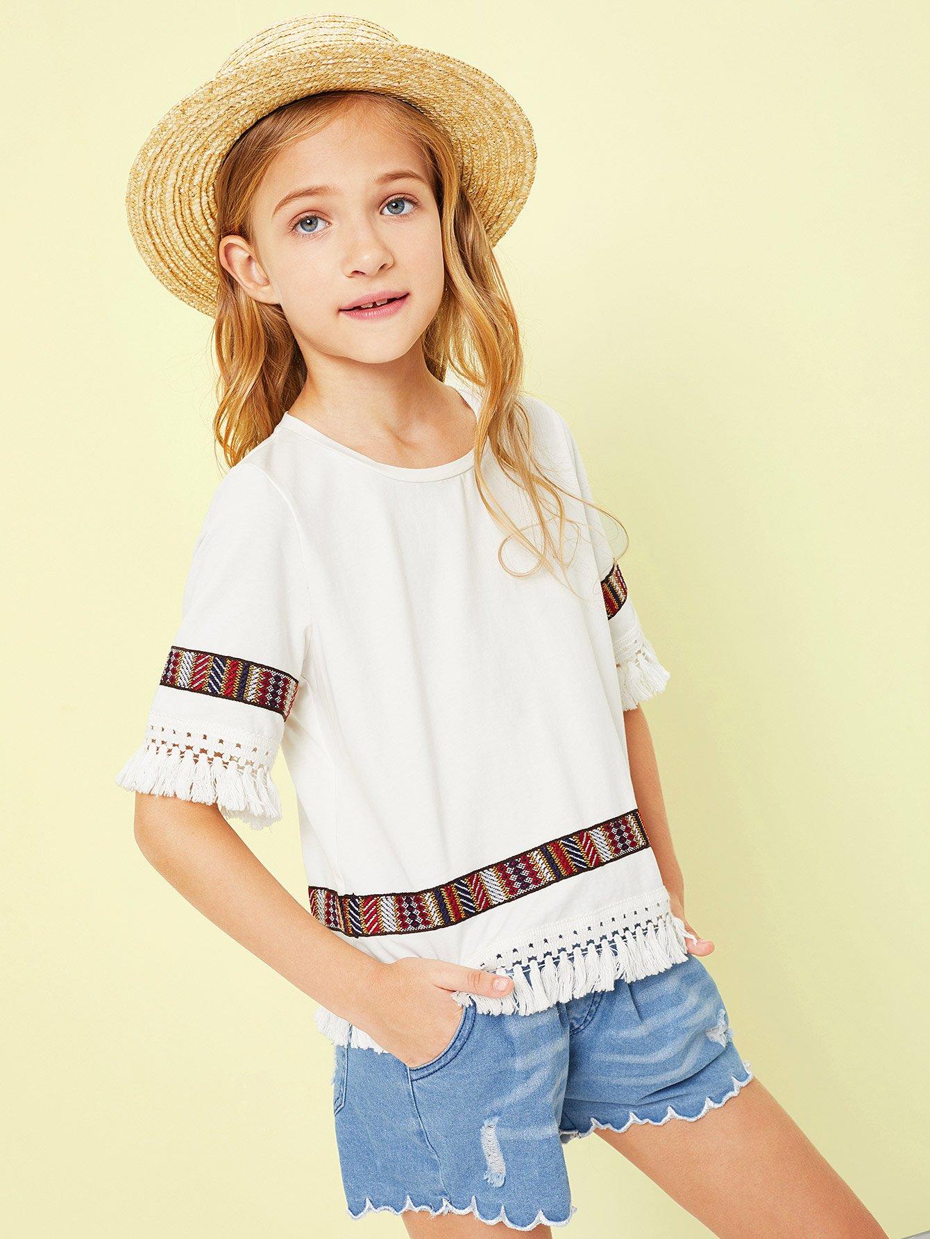 Рубашка с украшением вышивки и кисти для девочки, Sashab, SheIn  - купить со скидкой