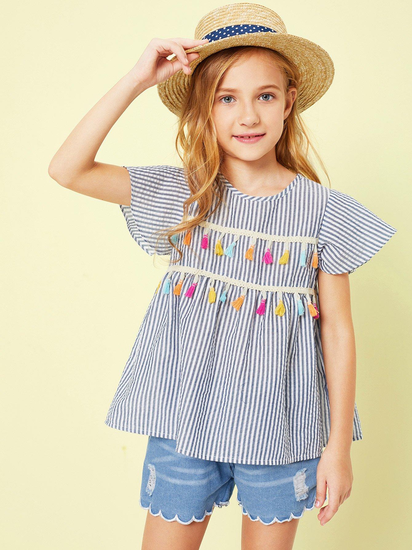 Купить Девушки Tassel Trim Striped Print Top, Sashab, SheIn