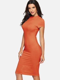 Crew Neck Midaxi Pencil Dress