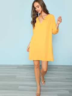 V-Neck Solid Tunic Dress