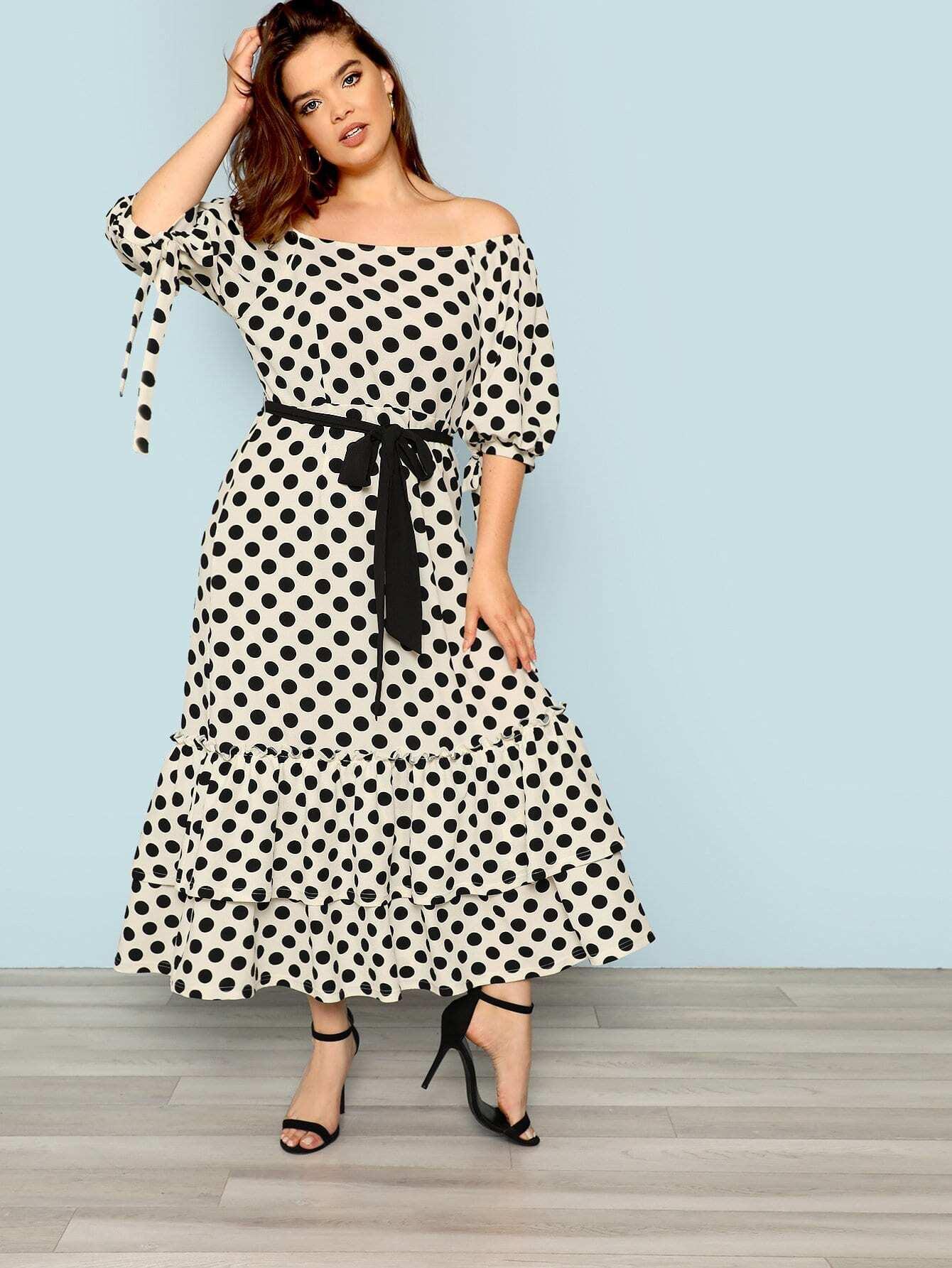Plus Puff Sleeve Layered Ruffle Polka Dot Dress layered ruffle polka dot cami dress