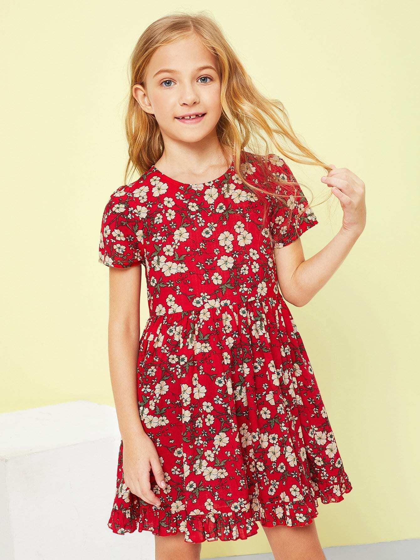 Купить Девушки Zip Back Ruffle Hem Цветочные платья, Sashab, SheIn