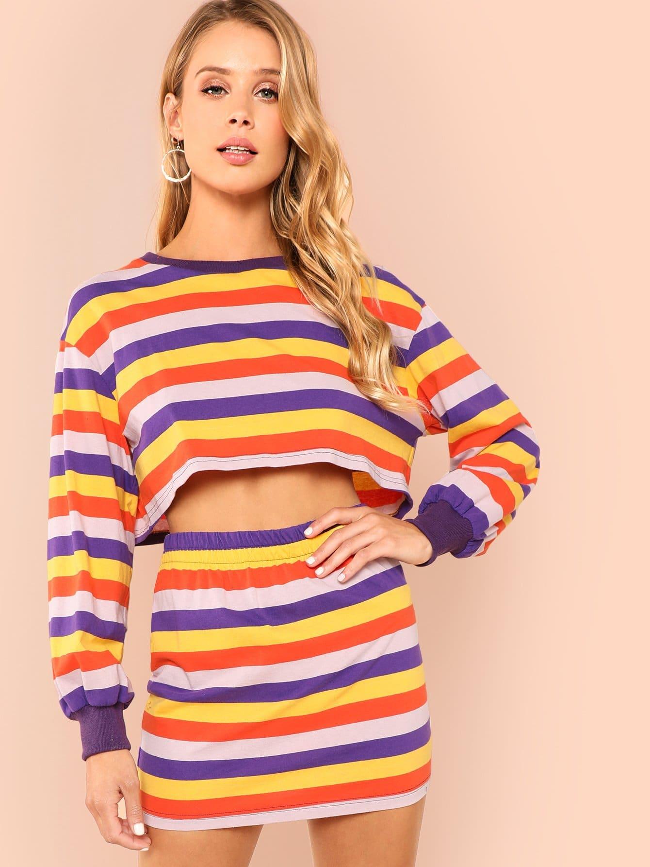 Купить Полосатый комплект для печати и юбки, Allie Leggett, SheIn