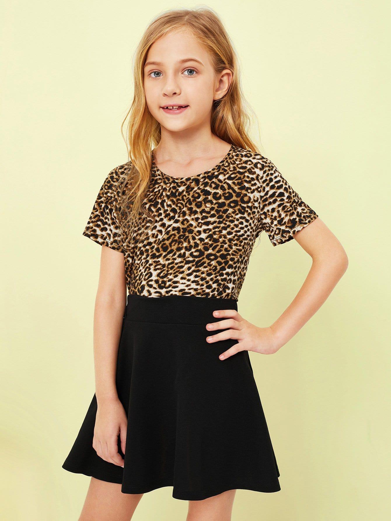 Девушки Leopard Print Top и Flare Skirt Set