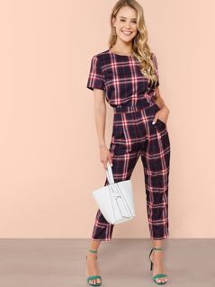 Plaid Top & Pants Co-Ord
