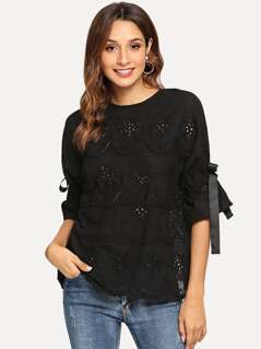 Knot Sleeve Laser Cut Blouse