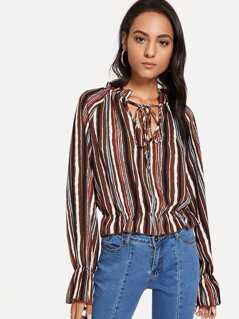 Tie Neck Ruffle Detail Striped Top