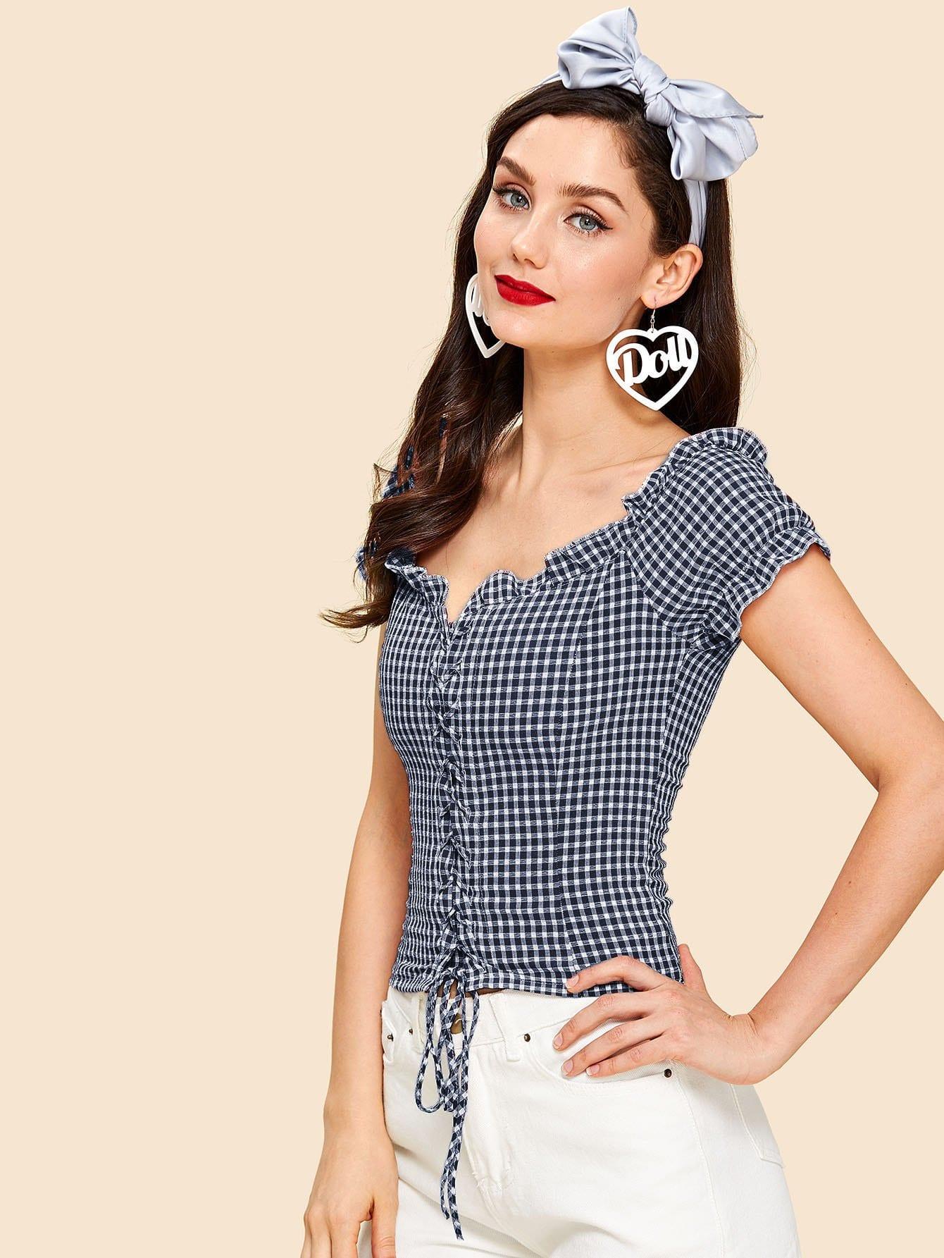 Купить Зашнуруйте переднюю оборванную блузку Гингама, Julie H., SheIn