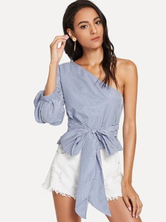 Gathered Sleeve One Shoulder Striped Top