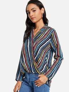 Colorful Stripe Wrap Top