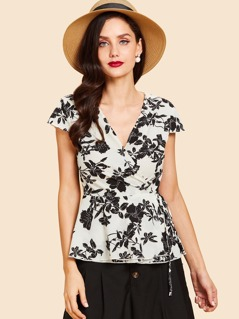 Surplice Neck Botanical Print Peplum Top