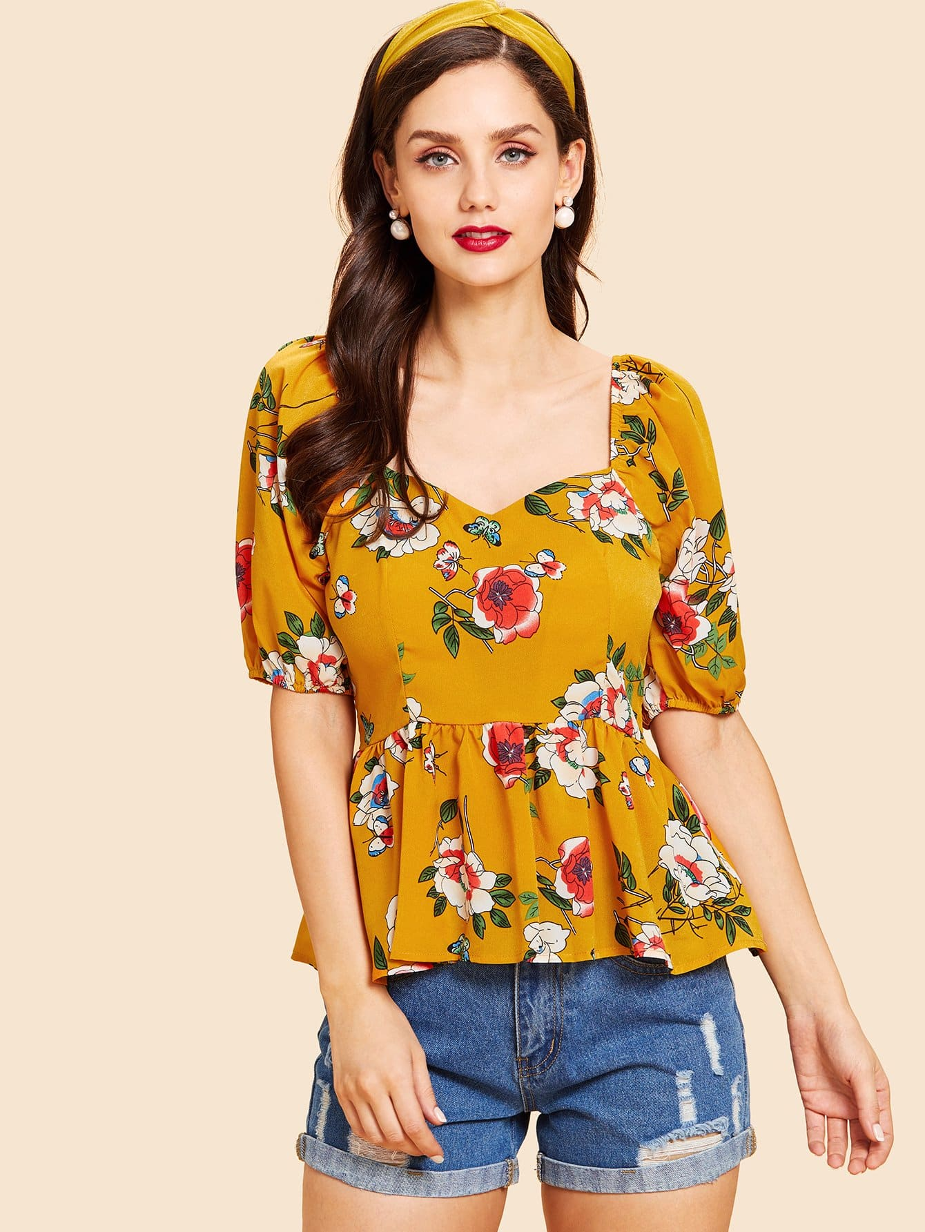 Raglan Sleeve Botanical Peplum Top