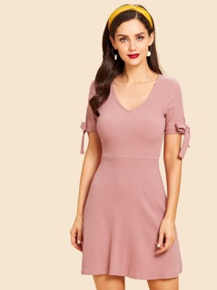 Knot Cuff Fit and Flare Dress