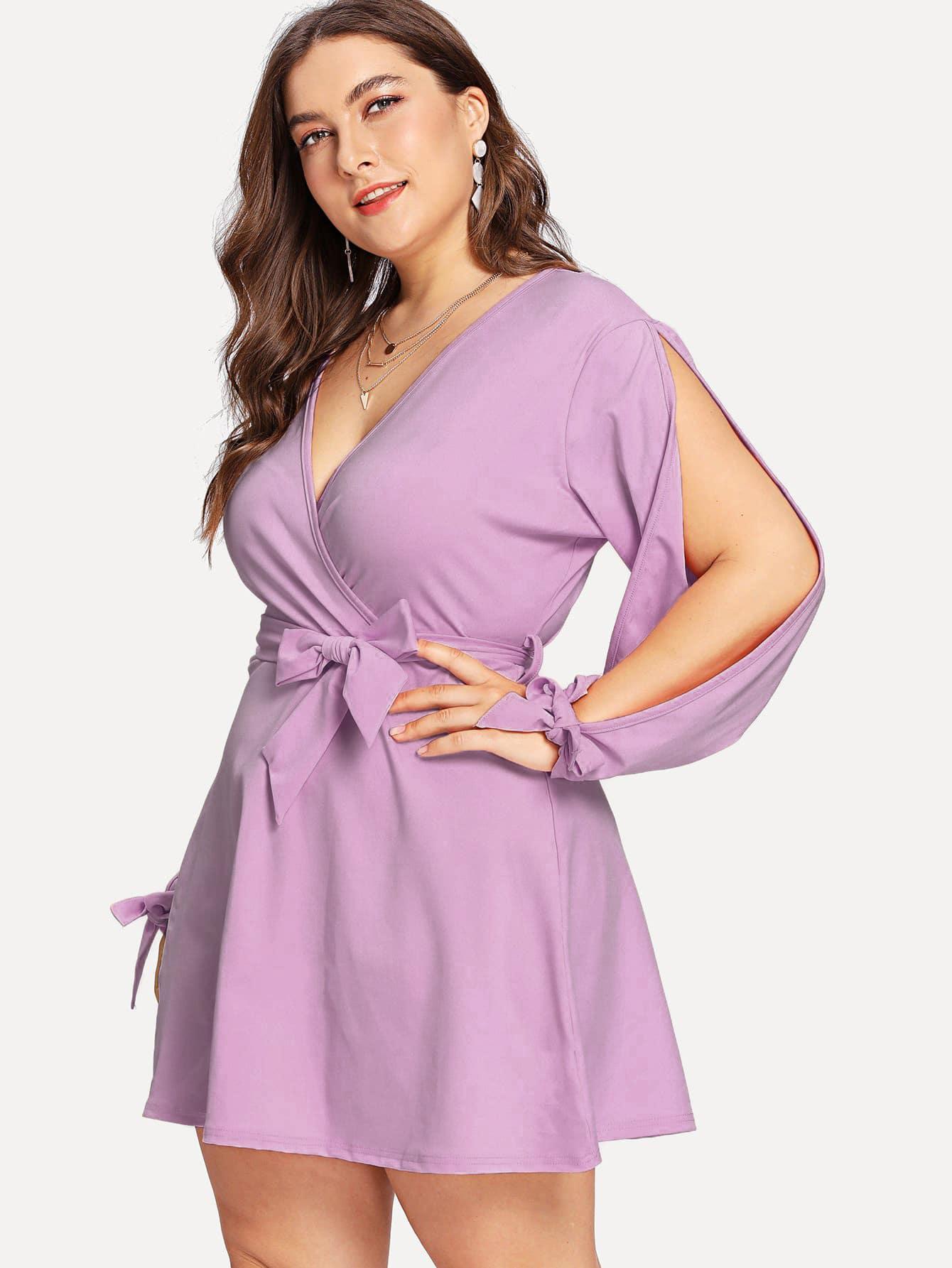 Купить Сплит связанный рукав Surplice Wrap Dress, Franziska, SheIn