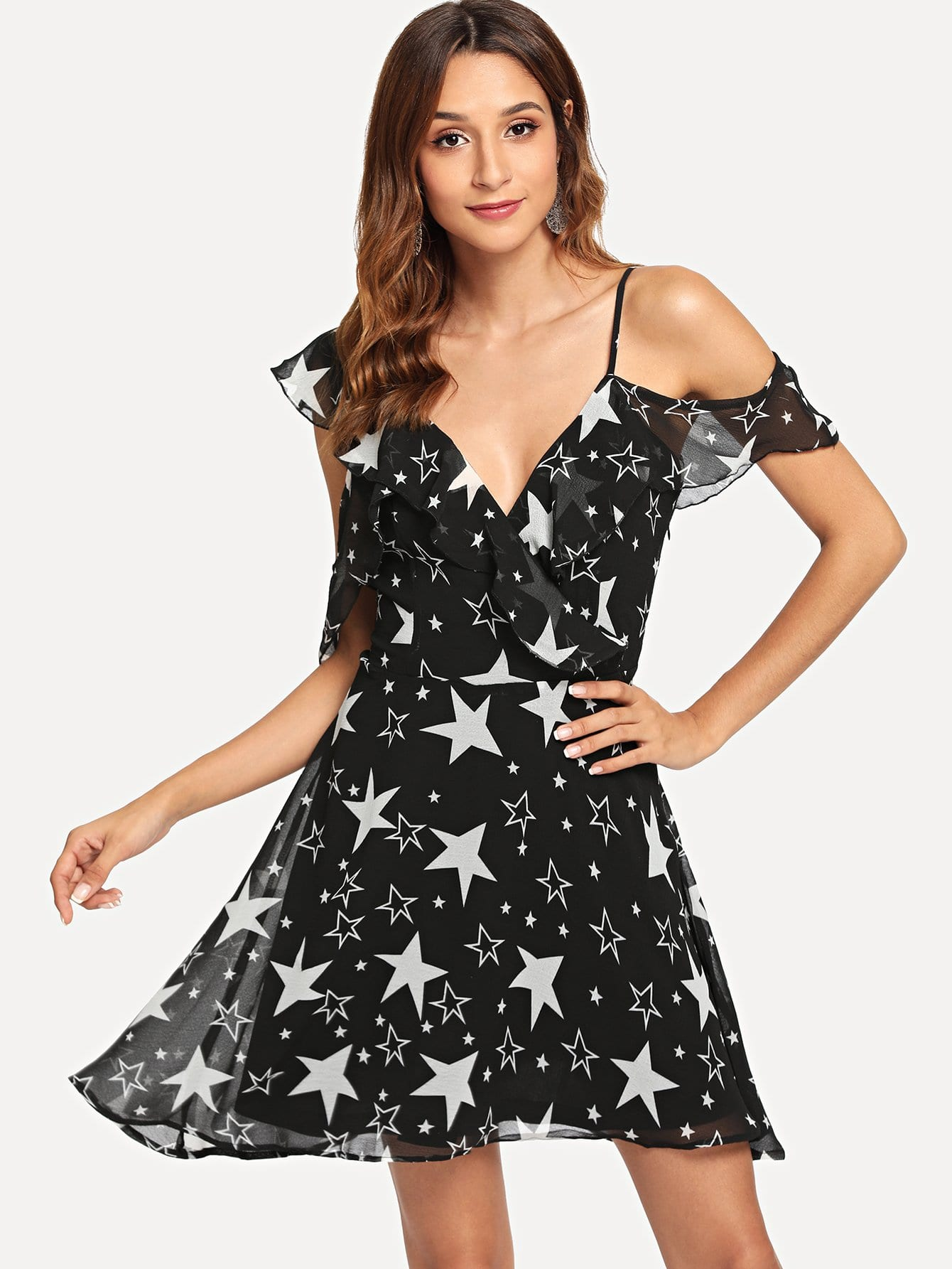 Allover Star Print Асимметричное платье для декольте
