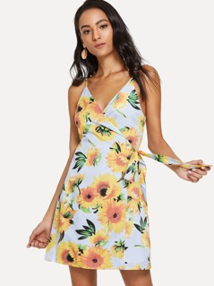 Stripe & Sunflower Print Swing Cami Dress