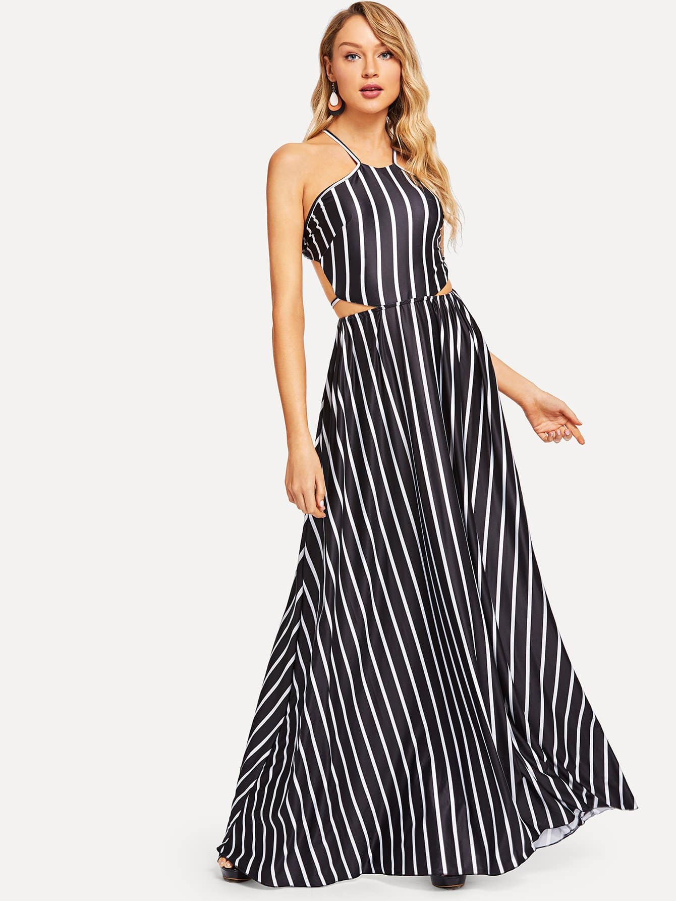 Cutout Halter Neck Striped Dress halter cutout plunge neck monokini