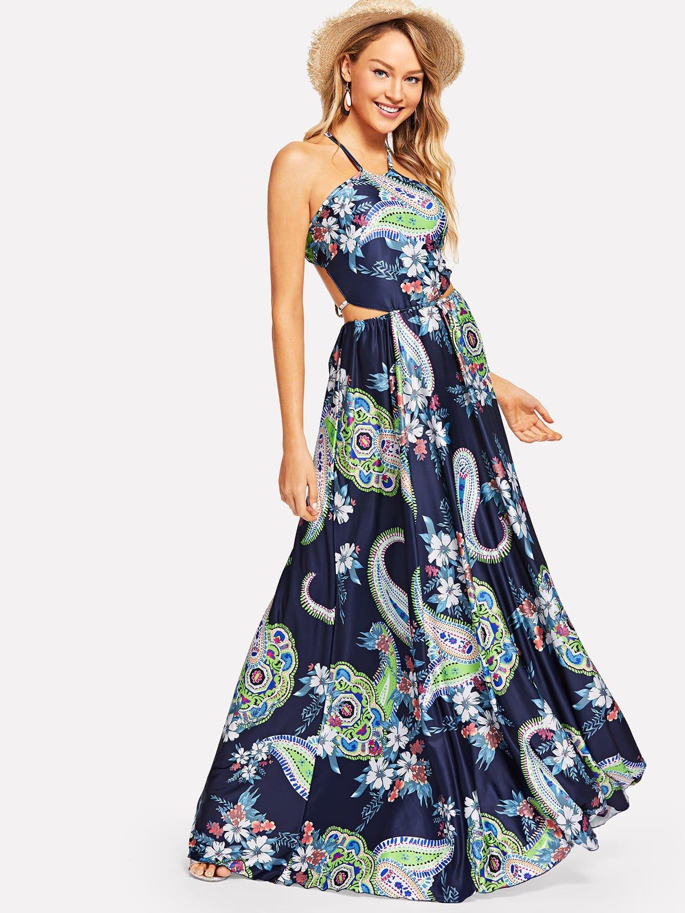 Купить Вырезать Холтер Шея Цветочные платья, Sasa, SheIn
