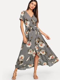 Surplice Neck Floral Overlap Ruffle Hem Dress