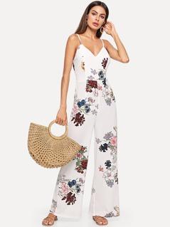 Crisscross Back Floral Cami Jumpsuit