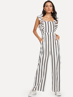 Ruffle Embellished Straight Leg Striped Jumpsuit