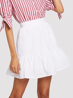 Wide Waistband Solid Ruffle Hem Skirt