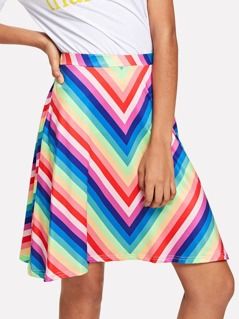 Rainbow Chevron Print Skirt