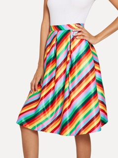 Rainbow Chevron Print Skirt