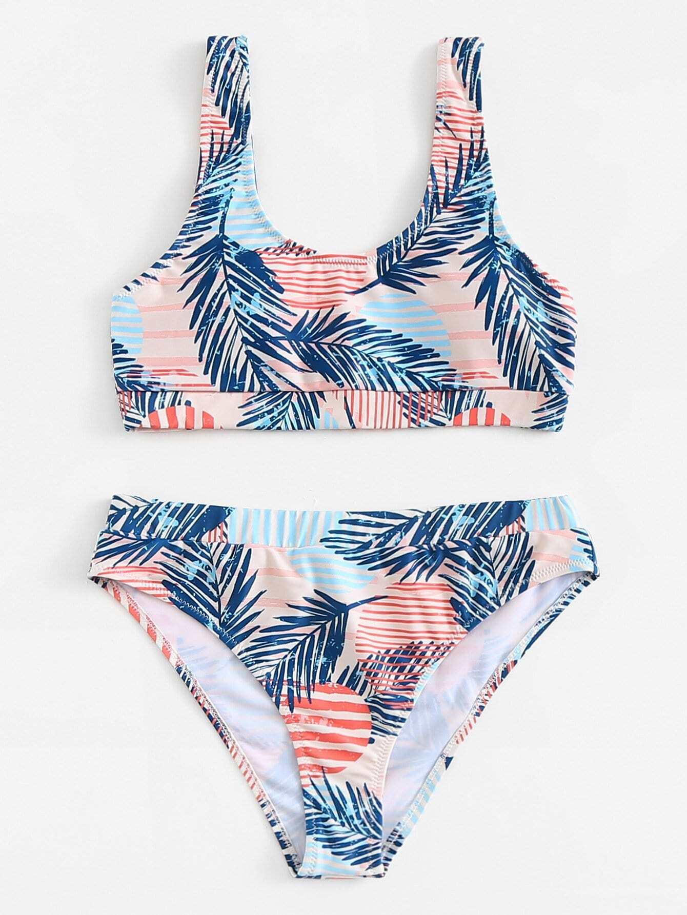 Palm Leaf Print Bikini Set