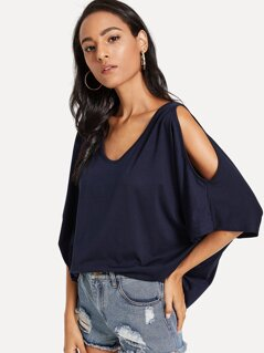 Open Shoulder Solid Poncho Tee