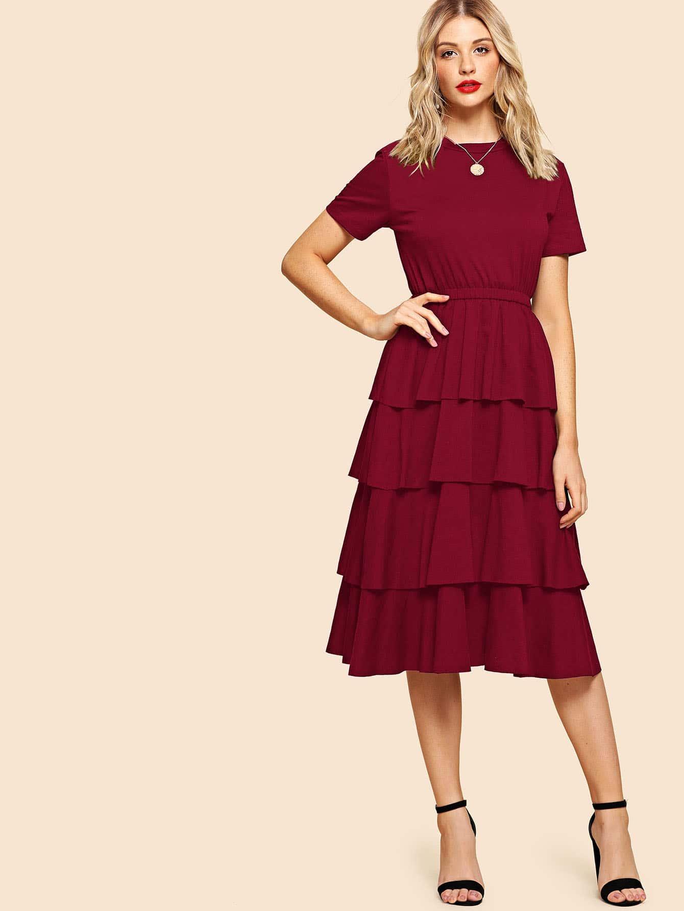 Купить Накрахмаленное платье с розеткой, Nathane, SheIn