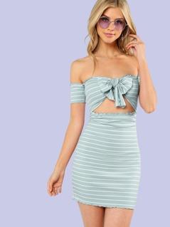 Lettuce Edge Knot Front Bardot Striped Dress