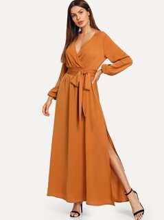 Side Slit Wrap Dress with Belt