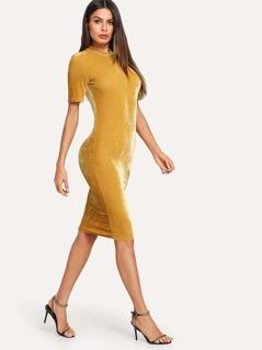 Mock Neck Velvet Pencil Dress
