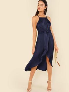 Knot Front Wrap Cami Dress