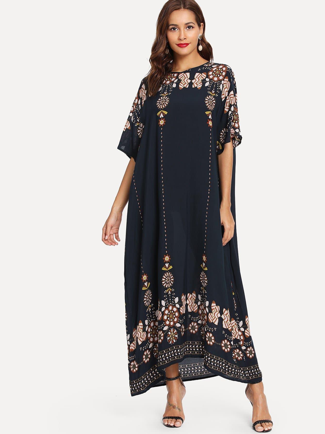 Купить Платье с рисунками геометрий и с рукавами кожана, Giulia, SheIn