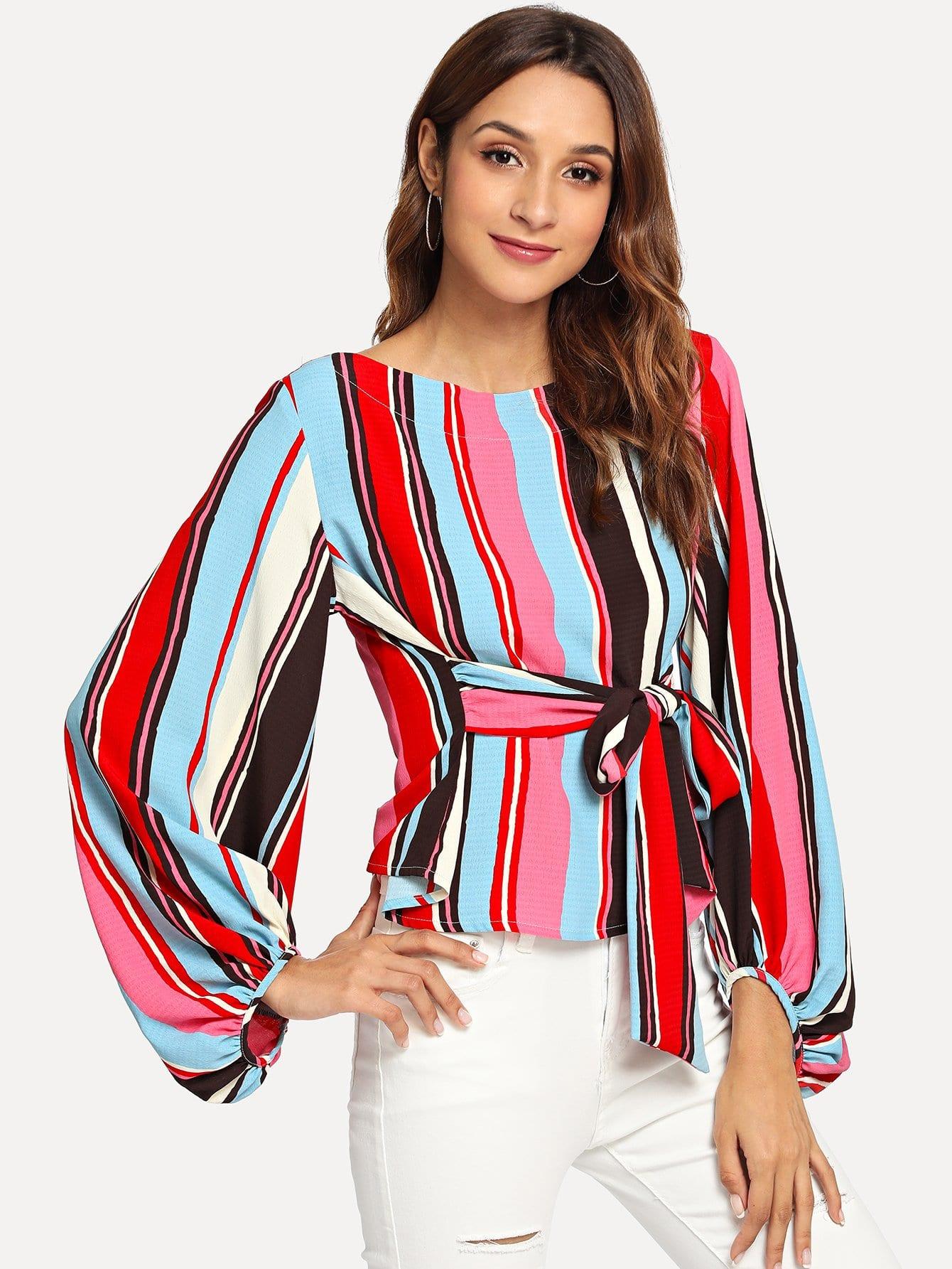 Купить Полосатая блузка и с поясом и с рукавами епископа, Gabi B, SheIn