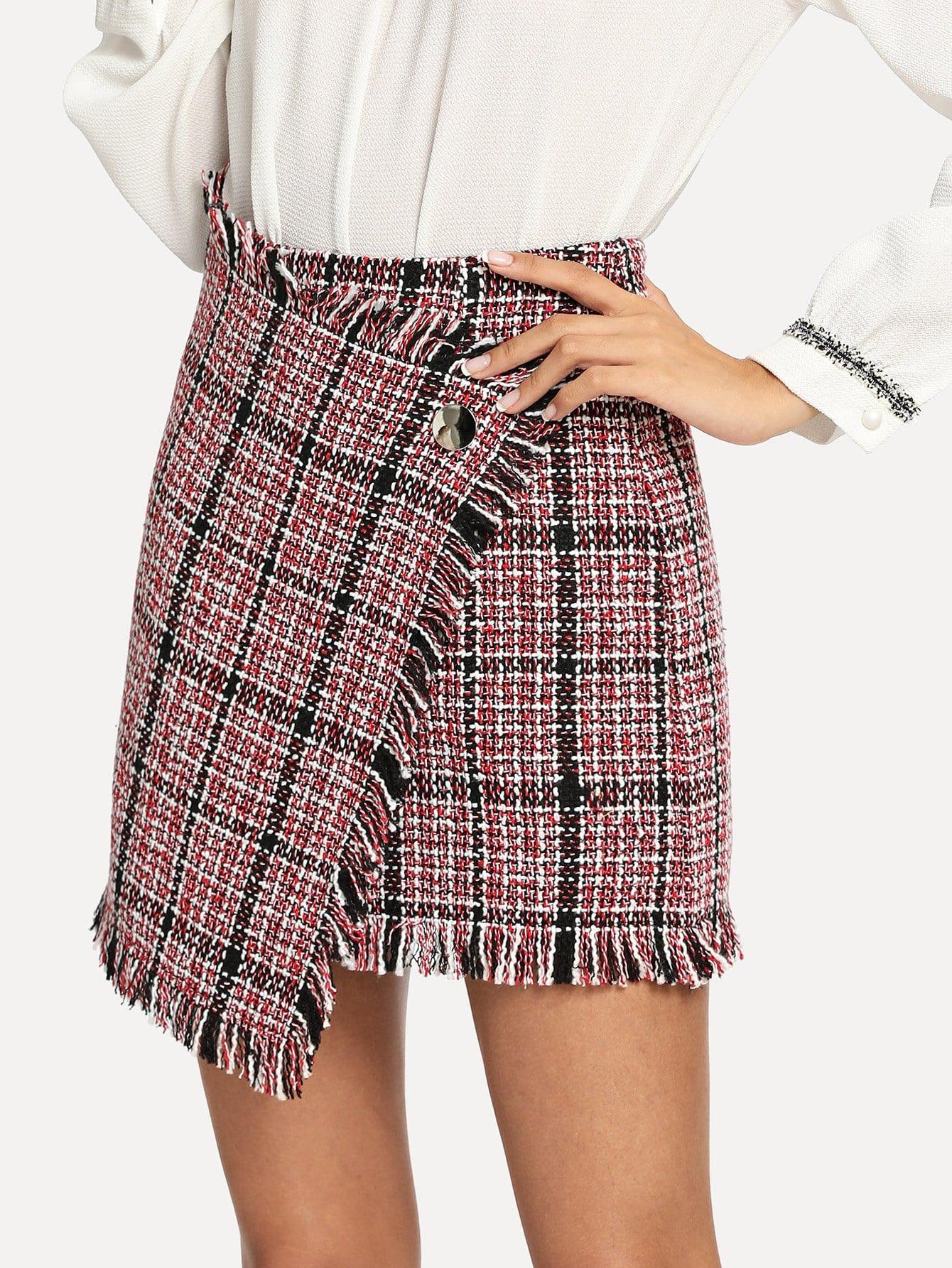 Асимметричная облегающая рваная юбка из грубого сукна, Gabi B, SheIn  - купить со скидкой