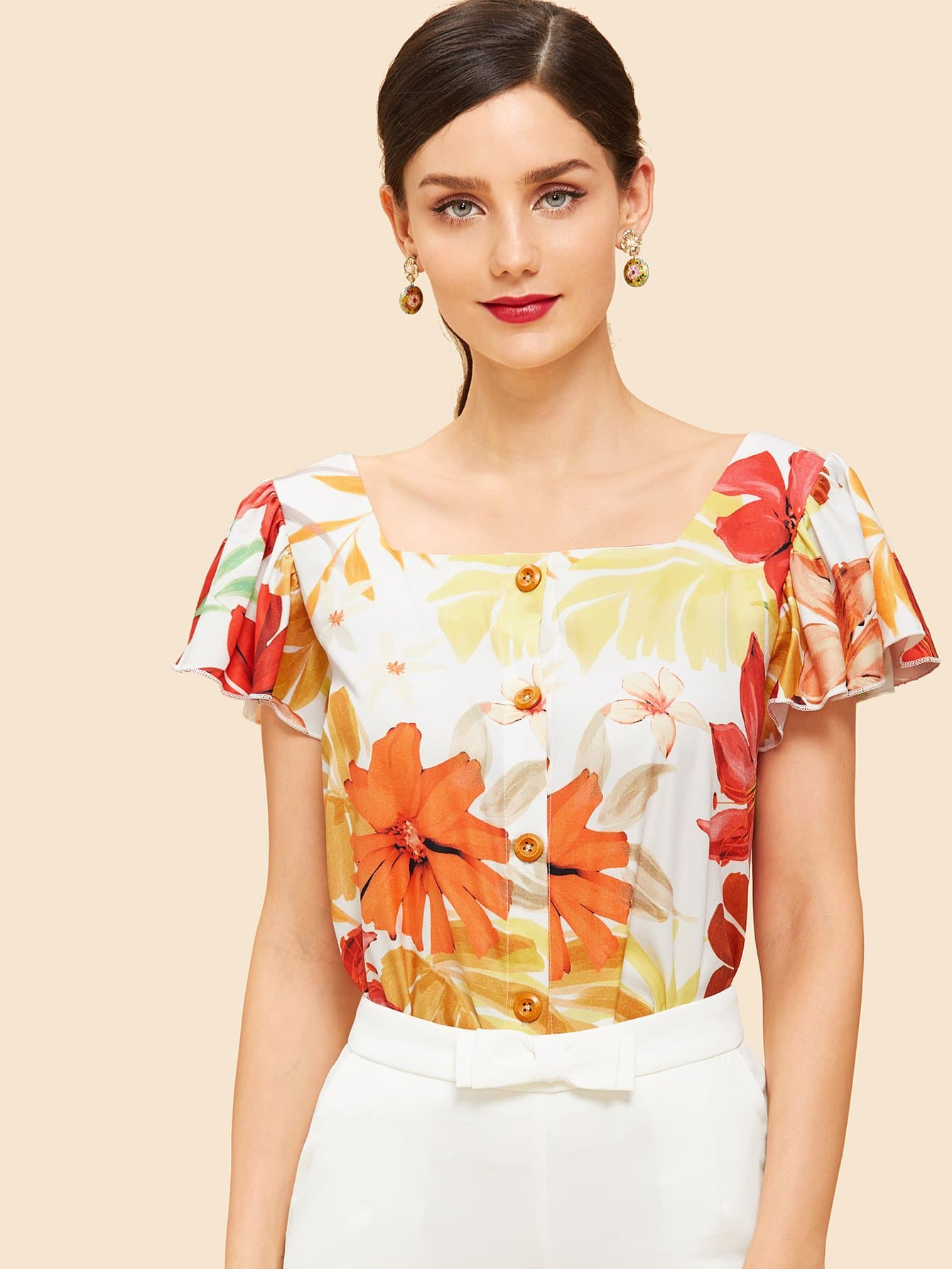 Купить Ситцевая блузка и с непринуждёнными рукавами, Julie H., SheIn