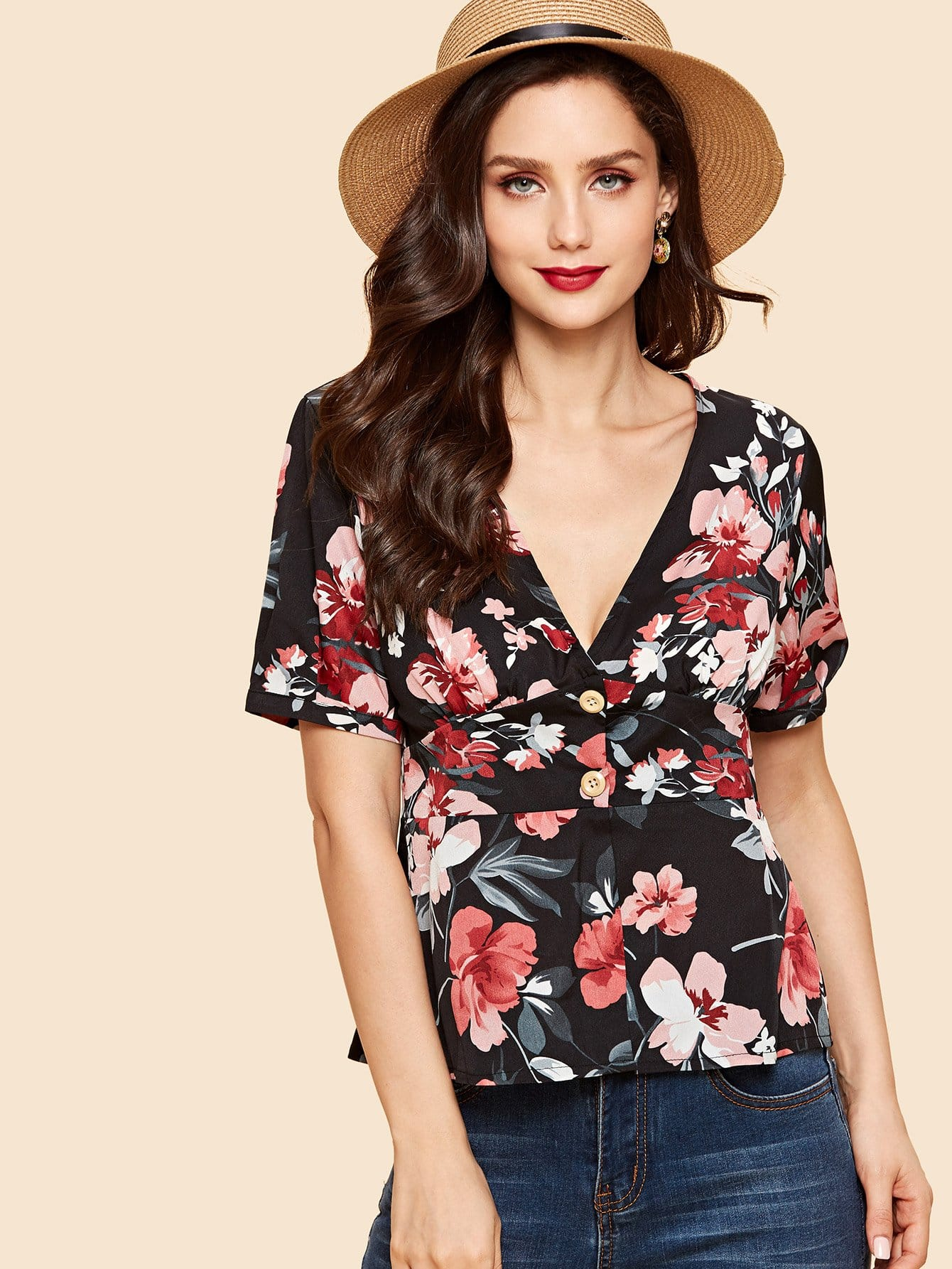 Купить Рубашка и с низким V воротником и с украшением пуговицы, Julie H., SheIn