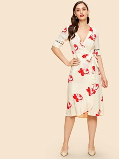 Contrast Tipping Sleeve Floral Wrap Dress