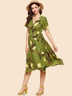 Knot Side Surplice Wrap Floral Dress